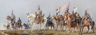 Hungarians - The seven Magyar chieftains arriving to the Carpathian Basin. Detail from Árpád Feszty's cyclorama titled the Arrival of the Hungarians.