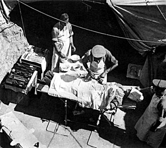 Territorial and Reserve Forces Act 1907 - One of the new features of the Territorial Force was that its divisions would contain all of their own support units; this field surgery at Gallipoli was an organic part of the 42nd (East Lancashire) Division. Photo by Ernest Brooks.