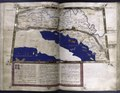 Fifth map of Europe (the Balkans), with gold border, commentary text in pink border with 4-line gold inital on pink and blue field (NYPL b12455533-427021).tif