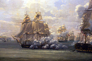 Raking fire - French frigate ''Poursuivante'' firing raking fire on the British ship of the line HMS  ''Hercule'' in the action of 28 June 1803.