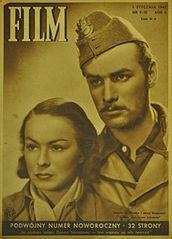 Aktorzy filmu Zakazane piosenki: Danuta Szaflarska i Jerzy Duszyński na okładce czasopisma Film Nr. 9–10 z 1947