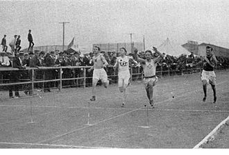 Athletics at the 1904 Summer Olympics – Men's 60 metres - Image: Finish of 60 m running event during 1904 Summer Olympics
