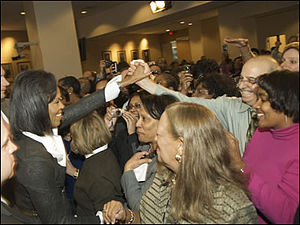 First Lady Michelle Obama greets ED employees ...