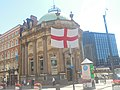 Flag of England during the 2018 FIFA World Cup on the Black Prince, City Square, Leeds (29th June 2018).jpg