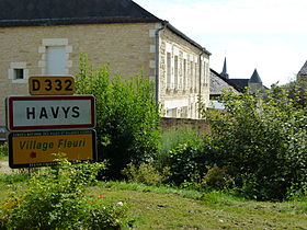 Flaignes-Havys (Ardennes) city limit sign Havys.JPG