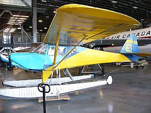Fleet Canuck - Fleet Canuck CF-EBE on straight floats. This aircraft, serial number 149, is in the storage facility of the Canada Aviation and Space Museum at Rockcliffe Airport.