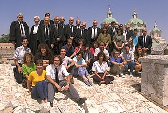 Law clerk - The Israel Supreme Court justices and their law clerks on the roof of the old supreme court building at the Russian compound in Jerusalem
