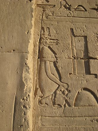 Taweret - Images of protective deities like Taweret and Bes were placed on the outer walls of Ptolemaic temples in order to keep evil forces at bay. Edfu, Egypt.