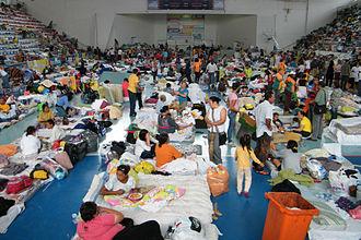 January 2011 Rio de Janeiro floods and mudslides - Improvised shelter for the homeless in Teresópolis.