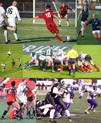 Football - Several codes of football. Images, from top to down, left to right: association football (soccer), Australian rules football, international rules football, a rugby union scrum, rugby league, and American football.