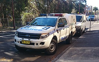Police van - NSW Police Ford Ranger police paddy wagon with cage.