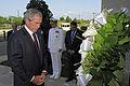 Former President George W. Bush, foreground, lays a wreath at the Pentagon Sept 110910-F-RG147-043.jpg