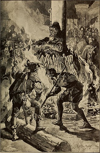 Rowland Taylor - Illustration of the martyrdom from a 1907 edition of Foxe's Book of Martyrs