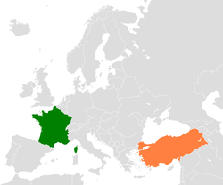Map indicating locations of France and Turkey