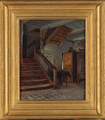 Room Interior with Winding Staircase
