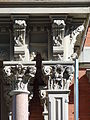 Franco American School front entrance column capitals; Lowell, MA; 2012-05-19.JPG