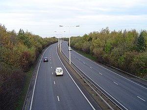 Road transport in Peterborough - The Frank Perkins Parkway heading towards Newark