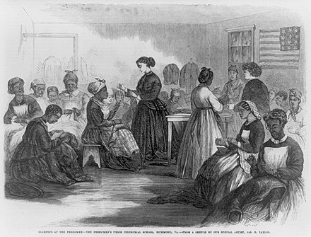 An industrial school set up for ex-slaves in Richmond during Reconstruction Freedmen richmond sewing women.jpg