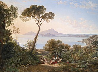 Friedrich August Elsasser - View from Posillipo to Bagnoli, Procida, Cape Miseno on the left of the painting, and Niceda (1836).