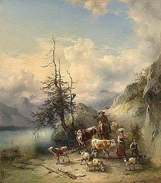 Friedrich Gauermann - Image: Friedrich Gauermann The Return of the Herd from the High Pastures 1855