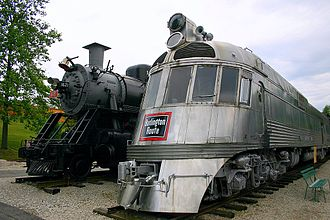 Museum of Transportation - A Burlington Zephyr and a Frisco 2-10-0 on display at the National Museum of Transportation.