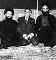 From left Sadeq Rohani, Ali Amini, Mohammad Rohani in Funeral of Mahmoud Rohani - Azam mosque of Qom.jpg