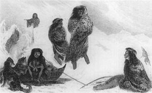 Jemmy Button - Fuegians going to trade in Zapallos with the Patagonians from FitzRoy's Narrative (1839)