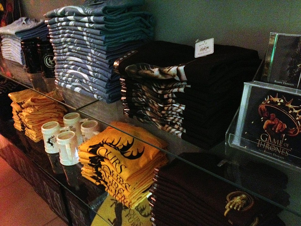 Game of Thrones merchandise in HBO shop