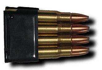 .30-06 Springfield - Eight .30-06 cartridges loaded in an en bloc clip for the M1 Garand