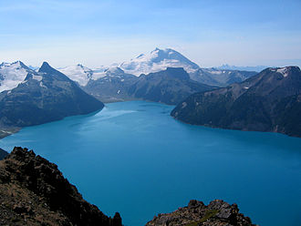 Bill Mathews - Garibaldi Provincial Park was a major focus of Bill Mathews' scientific career. Garibaldi Lake (foreground), The Table (behind lake), and Mount Garibaldi (background) were each among the subjects of his numerous publications.