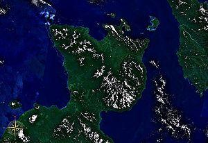 Gazelle Peninsula - Gazelle Peninsula seen from space