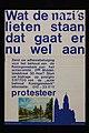 """Gedrukte poster met """"wat de nazi's lieten staan, dat gaat er nu wel aan"""", bedoeld als protest tegen sloop Koninginnekerk, onderaan is ansichtkaart geplakt met de kerk op voorzijde, objectnr 31263.JPG"""