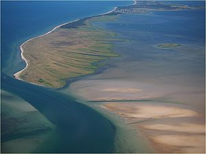 Gänsewerder (right above the center of the picture) east of the Gellen peninsula from Hiddensee