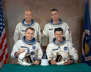 Gemini 9A - Gemini 9 original prime crew (front row, L-R) Elliott See, Charles Bassett;  and backup crew (back row, L-R) Tom Stafford, Gene Cernan
