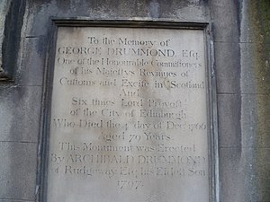 George Drummond - Memorial tablet over Drummond's grave