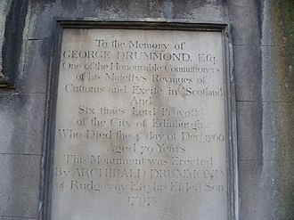 George Drummond - Memorial tablet over Drummond's grave