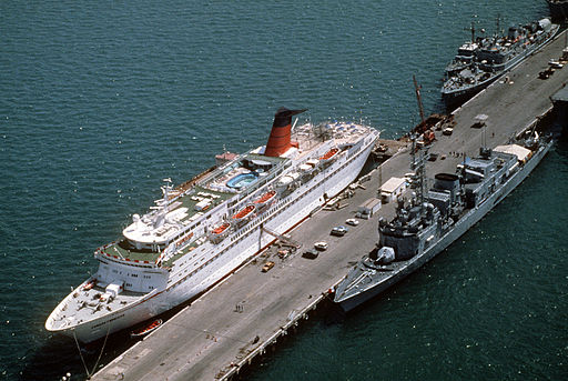 Georges Leygues class destroyer nearby the Cunard Princess, 1991