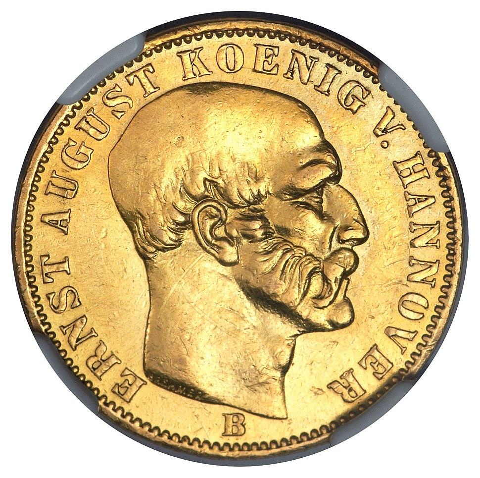 German States Hannover Ernst August 5 Taler 1849-B (obv)
