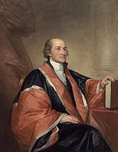 Gilbert Stuart portrait of Chief Justice John Jay in robes, seated and holding a law book