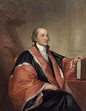 Retrato de Gilbert Stuart do presidente do tribunal de justiça John Jay em túnicas, sentado e segurando um livro de leis