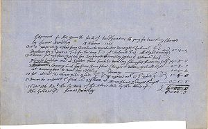 John Gilbert (agent) - Document containing the travel expenses for James Brindley, signed by Brindley and John Gilbert