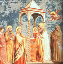 Uvedení do chrámu, freska od Giotta v Cappella degli Scrovegni, Padova (kolem roku 1305)