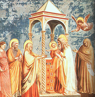 Anna the Prophetess - Anna at the presentation of Jesus (right), from Giotto, Chapel of Scrovegni.