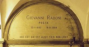 Giovanni Raboni - Raboni's grave at the Monumental Cemetery of Milan
