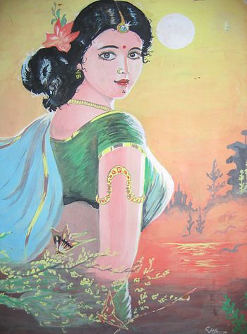 A south indian girl in traditional indian dres...