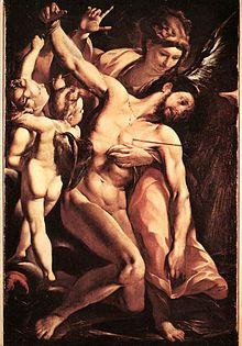 San Sebastiano morente risanato dagli angeli di Giulio Cesare Procaccini, in cui il fisico nudo del santo contrasta con le sue armi da soldato abbandonate al suolo.