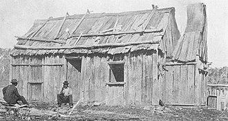 Slab hut - Slab Hut, Belle Vue Station, Glencoe, NSW c. 1898