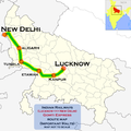 Gomti Express (Lucknow - New Delhi) route map.png