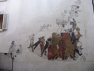 "Felix Hoffmann (illustrator) - ""Fresco Bachfischet"" at the Upper Mill, Old Town of Aarau, no longer at the original site"