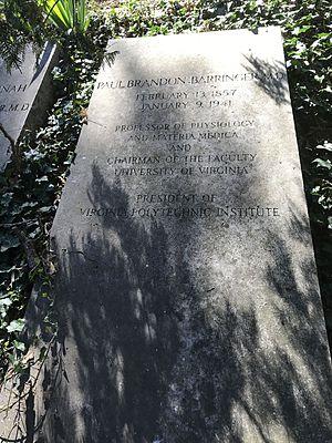 Paul Brandon Barringer - Barringer's gravestone at the University of Virginia Cemetery in Charlottesville, Virginia.
